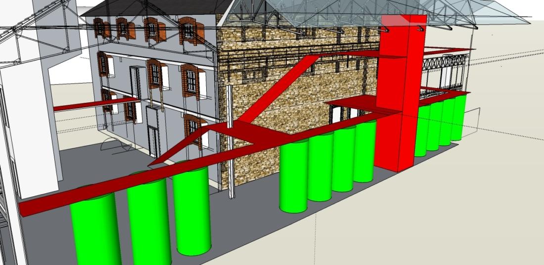 Plan 3D de la brasserie