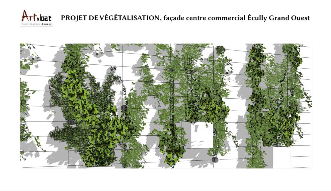Façade végétale du centre commercial à Ecully